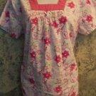 Square neck pink ribbon pullover scrubs top nurse dental medical vet women XS