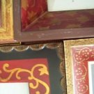 4 artsy complimentary photo picture frames 5x7 easel back red gold painted decor