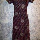 "Black red gold handmade kurti kutra tunic evening dress artsy unique 36"" bust"