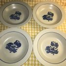 "4 PFLATZGRAFF Yorktowne 8.5"" soup salad bowls stoneware blue gray made U.S.A. gc"
