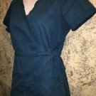 KOI solid caribbean blue mock wrap side tie scrub top dental medical nurse XS
