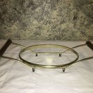 Vntg gold metal wire teak wood handle casserold dish holder stand oval 6x8 base