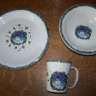 6 piece dinner set 2 place settings Christmas winter snowman plate bowl cup used