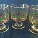 3 vintage ARBYS holly leaf berry CHRISTmas footed sherbet bowls cups glasses GC