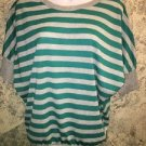 DEB gray silver metallic teal stripe stretch batwing sleeve top M banded waist