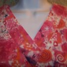 CAROL'S artsy pink orange v-neck scrubs top dental medical nurse vet uniform M