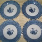 "4 tea cup saucer plates 6"" Currier Ives ROYAL blue white steamboat ferry boat"
