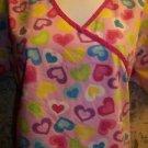 Valentine's colorful hearts mock wrap v-neck scrubs top nurse medical dental M