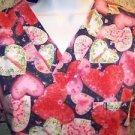 Floral Valentines hearts v-neck scrub uniform top dental medical nurse vet S