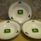 3 JOHN DEERE Gibson stoneware soup salad cereal bowls nothing runs like a deere