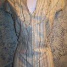 Vertical stripe raw edge fringed gauze cotton women XS-S summer blouse khaki tan