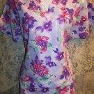 Purple floral spring flower v-neck scrubs uniform top dental medical vet nurse S