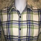 AMERICAN EAGLE green blue plaid flannel shirt button down XS No 77 athletic fit