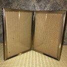 1 Bi-fold emboss vintage bright gold metal double hinged 5x7 frame photo picture