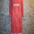 Hippie boho prairie maxi dress ruffle lace patchwork vintage costume S orange