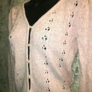 Pink silk blend open crochet pearled buttons cardigan sweater junior M feminine