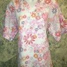 Cheerful daisy pink orange v-neck scrubs uniform top dental medical nurse vet M