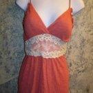 Hippie boho crochet lace net empire waist cami summer top women M light padding