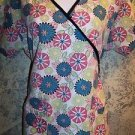 Abstract cheery pink teal  floral wrap look crossover scrub top nurse dental XS