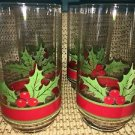 4 LIBBEY drinking glasses CHRISTmas holly leaf berry red green vintage 8 oz GC