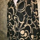 TANJAY artsy abstract shimmering zipper front collared stretch shirt black tan L