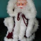 "Santa Claus hand crocheted hooded coat CHRISTmas decoration 14"" tall boots stand"