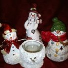 "Lot of 3 snowman CHRISTmas winter tea light votive holders 5-7"" tall decorations"