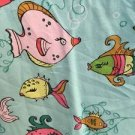 Colorful tropical fish v-neck scrubs uniform top TAFFORD dental medical nurse M