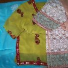 3 chiffon dresses for fabric handcrafted India embellished embroidered stitched
