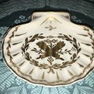 Antique seashell dish pin trinket tray FRANCE porcelain gold handpainted torches