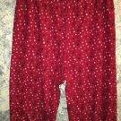 Fleece sleep lounge pj pajama bottoms pants L-XL red black stars elastic waist