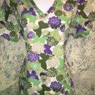 SB SCRUB double pocket uniform top nurse medical vet S khaki green floral purple