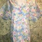 PEACHES blue floral v-neck scrubs uniform top dental nurse medical nurse vet XL