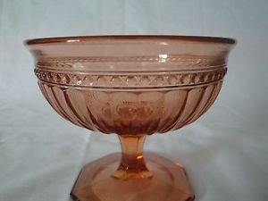"Pink depression glass small compote pedestal footed candy dessert dish 4"" high"