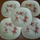 5 dessert plates square antique mid century KNOWLES Coral Pine pink flower retro