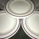 "6 CORNING restaurantware salad dessert plates 7"" white burgundy double red band"
