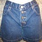 LEI mid rise button fly women junior size 7 denim blue jean shorts modest length