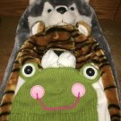 3 whimsical winter hats boy/girl plush knit animals scarf mitten tiger wolf frog