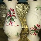 """Lot 2 LENNOX candycane ivory gold trim CHRISTmas vases 4.5"""" high handcrafted GUC"""