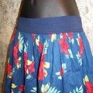 HOLLISTER tropical flower island beach elastic waist lined mini skirt women's L