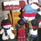 "LET IT SNOW 3 plush snowmen mailbox country art CHRISTmas winter decoration 15"""
