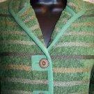 Green brown artsy striped dress blazer jacket KORET Petite S career professional