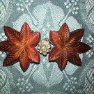 Antique garment sweater jacket clasp red orange bakelite ? intricate design leaf