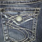 SILVER Suki Surplus denim blue jeans low rise boot cut back flap pockets 27x32