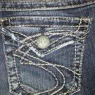 SILVER Suki Surplus denim blue jeans low rise boot cut back flap pockets 27x32