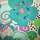 Retro hippie flowers bright v-neck scrubs uniform top dental medical nurse vet S