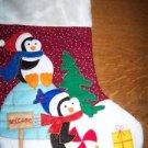 CHRISTmas decoration stocking felt faux fur penguins igloo applique children kid