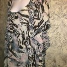 Asymmetrical 22W artsy silver metallic flowing v-neck layer look dress lined USA