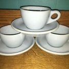 "3 vintage restaurantware BUFFALO CHINA Lune ""blue plate"" cups saucers sets heavy"