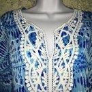 Hippie boho caftan blue crochet neck poncho tunic top tie dye generous fit S-M